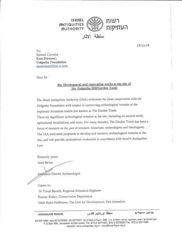 Golgotha IAA Letter
