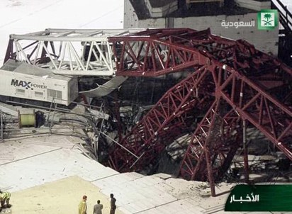 Gaping hole: The collapsed crane has caused a huge crater in the floor of the Great Mosque, which was undergoing an expansion