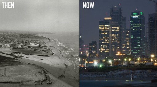 Then & Now images of the city of Tel Aviv (Photo: Ezra Adventures) Read more at http://www.breakingisraelnews.com/62401/ezekiels-prophecies-come-life-new-book-stunning-photographs-jewish-world/#klQh1xZdLujEBWHQ.99